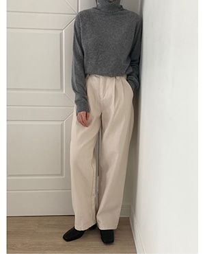 natural wide cotton pants (2color)