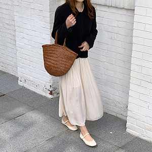natural pleats skirt (2color)