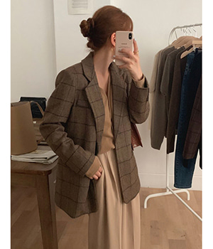 check wool jacket (2color)