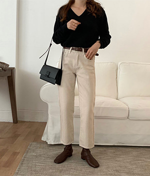 herringbone cotton pants (3color)