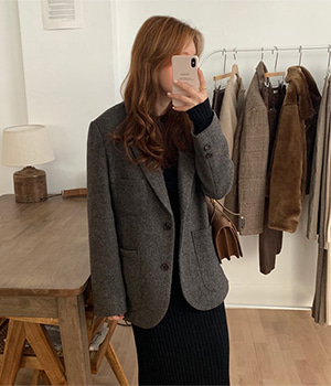 homespun wool jacket (2color)