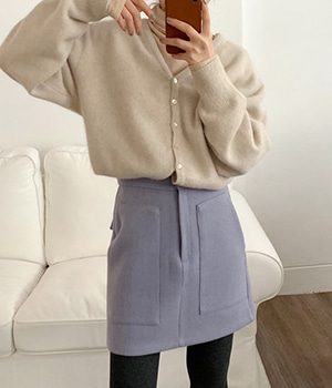 wool pocket skirt (3color)