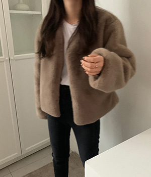 mink fur jacket (2color)