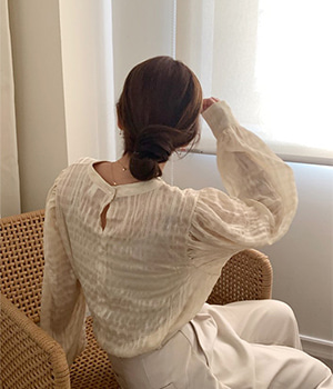 pearl balloon blouse (3color)