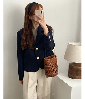 gold button short jacket (2color)