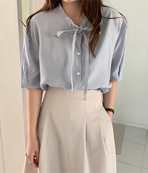 ribbon button blouse (3color)