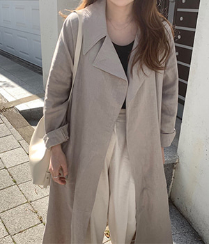 linen long trench coat (2color)