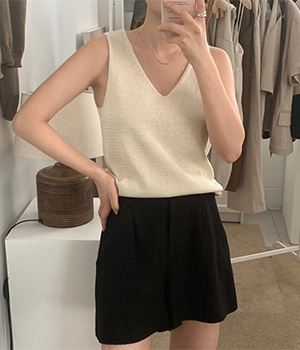 with linen sleeveless top (4color)