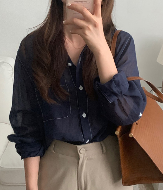 linen stitch shirt (3color)