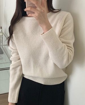 boat neck knit (3color)
