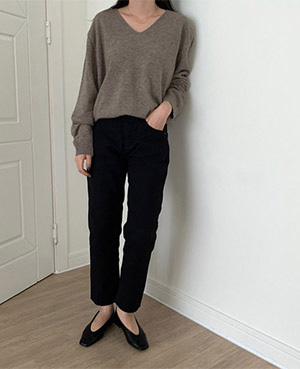 herringbone cotton pants (2color)