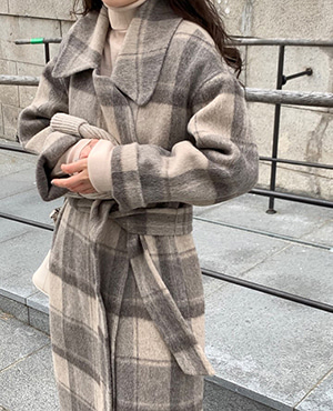 handmade alpaca robe coat (check) 재진행