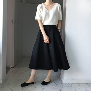 cotton flare skirt (2color)