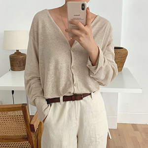 natural linen cardigan (3color)