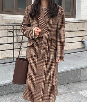 premium check wool coat (2color)
