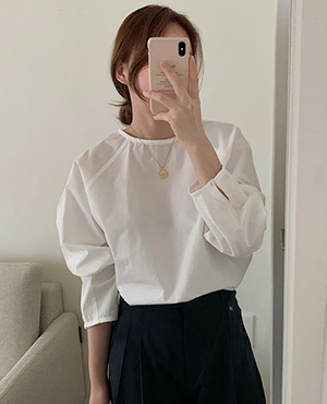 round cotton blouse (3color)